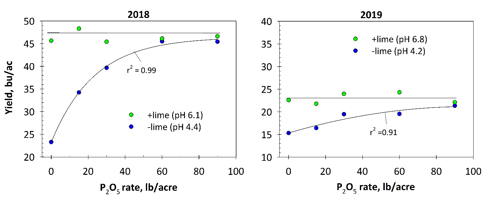 grain yield with and w/out lime at 5 seedplaced fertilizer P rates